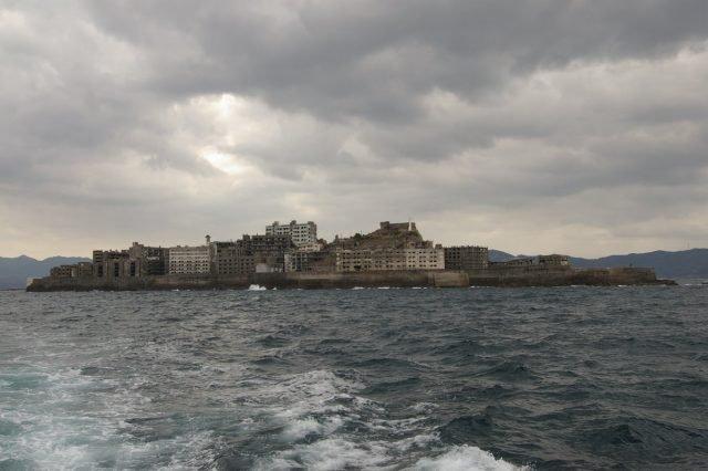 Hashima Island from the water - Abandoned Man via flickr Public Domain