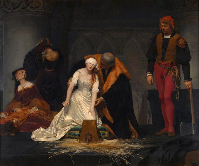 The execution of Lady Jane Gray - Paul Delaroche via wikipedia public domain