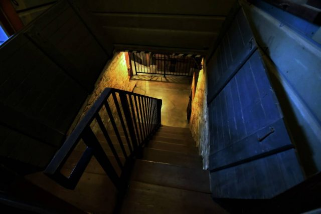 Winchester Mystery House entrance to basement - presskit